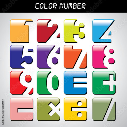 Multicolored Vector Font, numbers