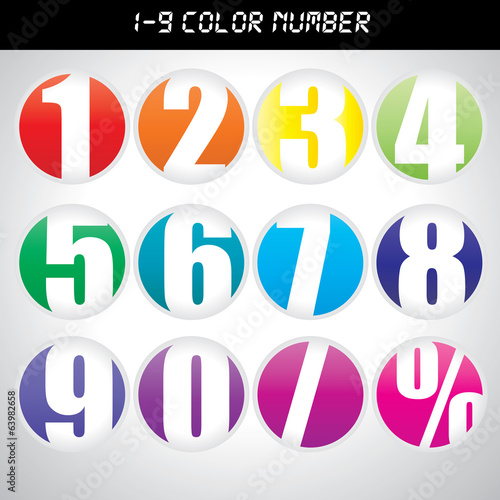 Number icon with many color