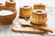 Homemade muffins powdered sugar