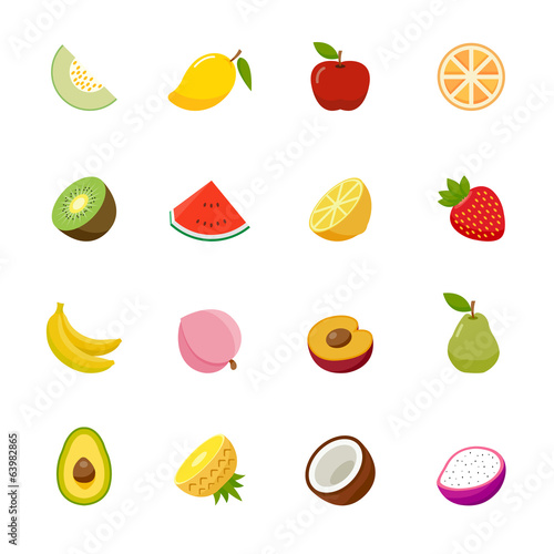 Fruit full color flat design icon.