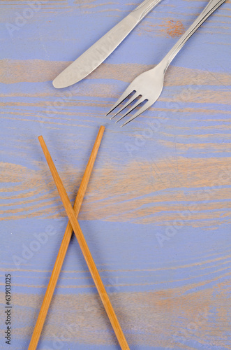 Chopsticks vs knife and fork