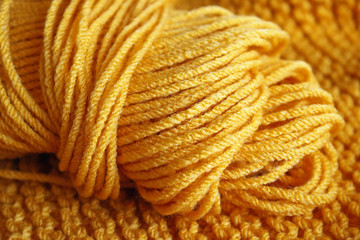 Skein of Knitting yarn in Yellow Gold