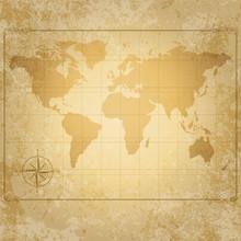 carte du monde de cru de vecteur avec boussole