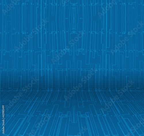 Empty interior perspective with abstract blue wallpaper