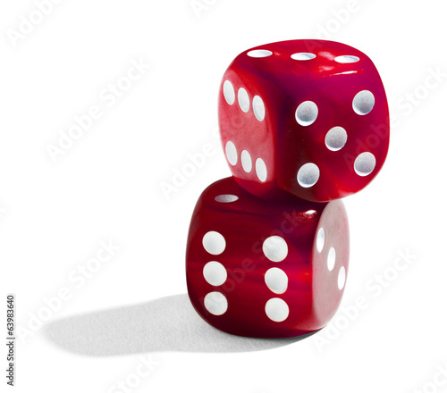 Two red stacked dice
