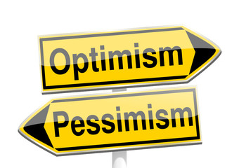 directional arrows with the words optimism and pessimism