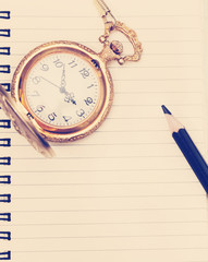 vintage pocket watch with a notepad, instagram effect