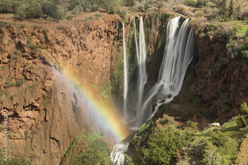 Rainbow over Waterfall of Ouzoud in Morocco, Africa