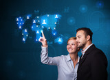 Young couple choosing from social network map