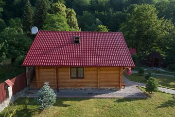 Small wooden house in Carpathian mountains, Western Ukraine