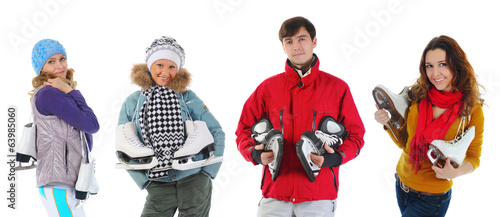 Young people with skates
