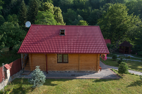 Small wooden house in Carpathian mountains, Western Ukraine