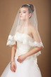 Sensuality. Woman with Transparent Wedding Veil