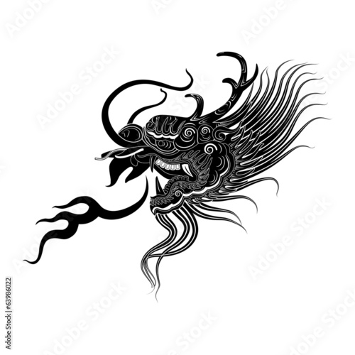 illustration   black dragon head  icon vector