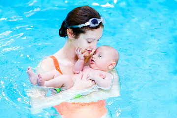 Cute baby boy relaxing in a swimming pool with his mother