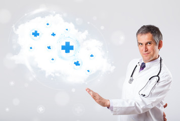 Doctor listening to abstract cloud with medical signs