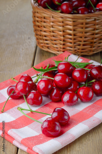 Organic Cherries on the checkered napkin