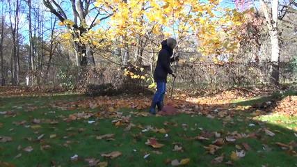 student raking with rake autumn leaves in grandmother garden