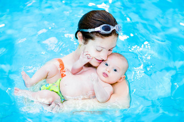 Young mother and her cute little baby relaxing in swimming pool
