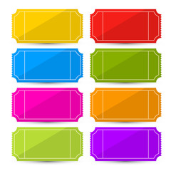 Colorful Vector Ticket Set Illustration