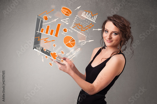 Beautiful lady holding notebook with graphs and statistics