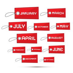 Months of the Year Red Sale Paper Labels, Tags Set