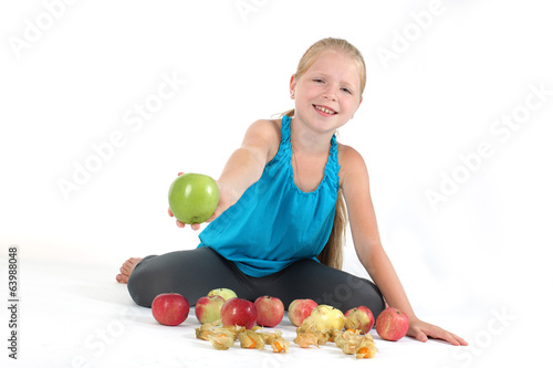 adorable little girl with apple