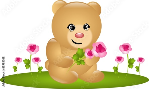 Cute bear with roses