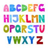 Fototapety Colorful Funny Alphabet Set Isolated on White Background
