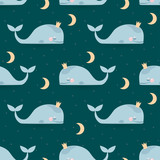 Fototapety Seamless pattern with sleeping whales, moon & stars. Good night