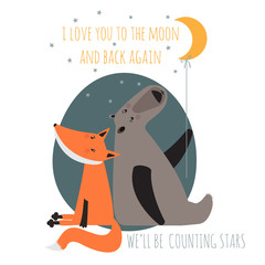 Romantic greeting card with bear and fox. Card about friendship.