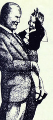 Caricature of Benito Mussolini
