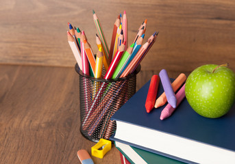 Schoolchild and student studies supplies. Back to school concept