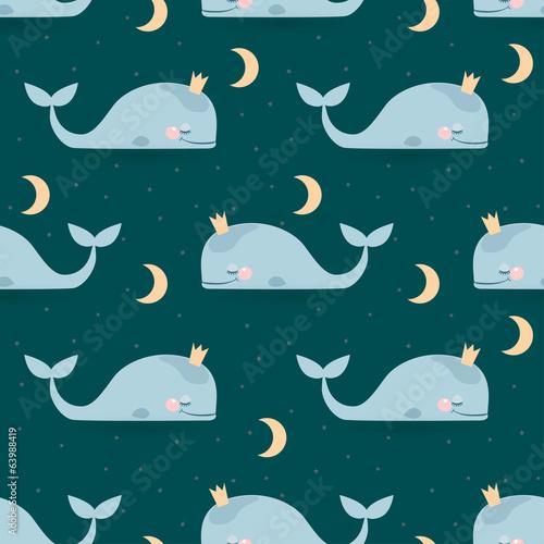 Seamless pattern with sleeping whales, moon & stars. Good night