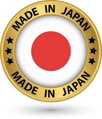 Made in Japan gold label with flag, vector illustration
