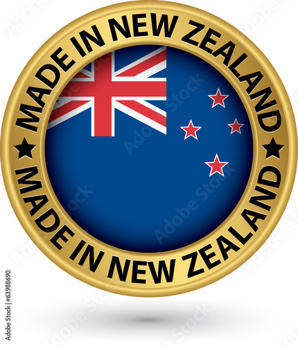 Made in New Zealand gold label with flag, vector illustration