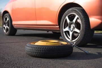 Emergency tyre on the road