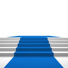 Podest mit blauem Teppich