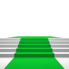 Podest mit grünem Teppich