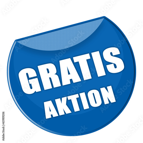 Button Gratis Aktion in blau - g862
