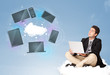 Happy businessman sitting on cloud enjoying cloud network servic