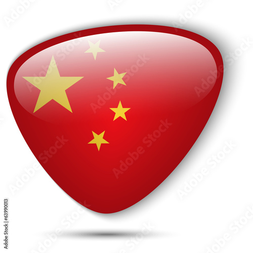 China Flag Glossy Button