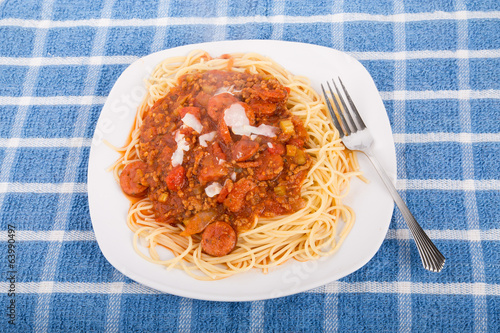 Spaghetti with meat and sausage