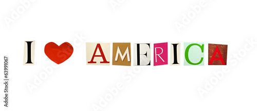 I Love America formed with magazine letters
