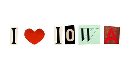 I Love Iowa formed with magazine letters