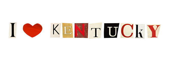 I Love Kentucky formed with magazine letters