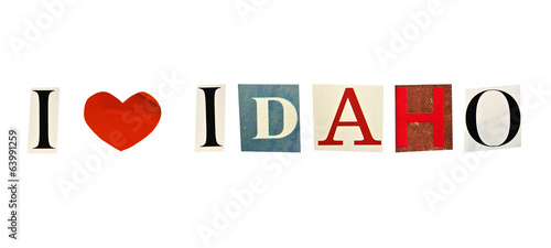 I Love Idaho formed with magazine letters