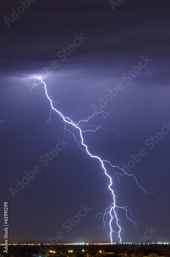 Detailed lightning bolt from cloud-to-ground