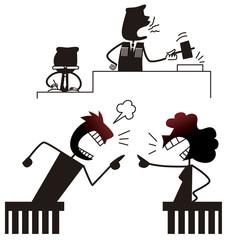 裁判所で喧嘩する男女