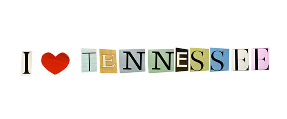 I Love Tennessee formed with magazine letters